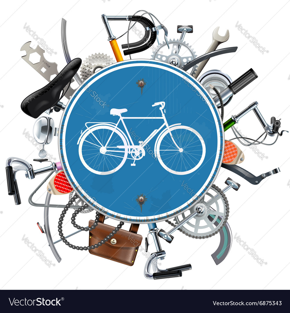 Bicycle Spares Concept with Blue Round Sign