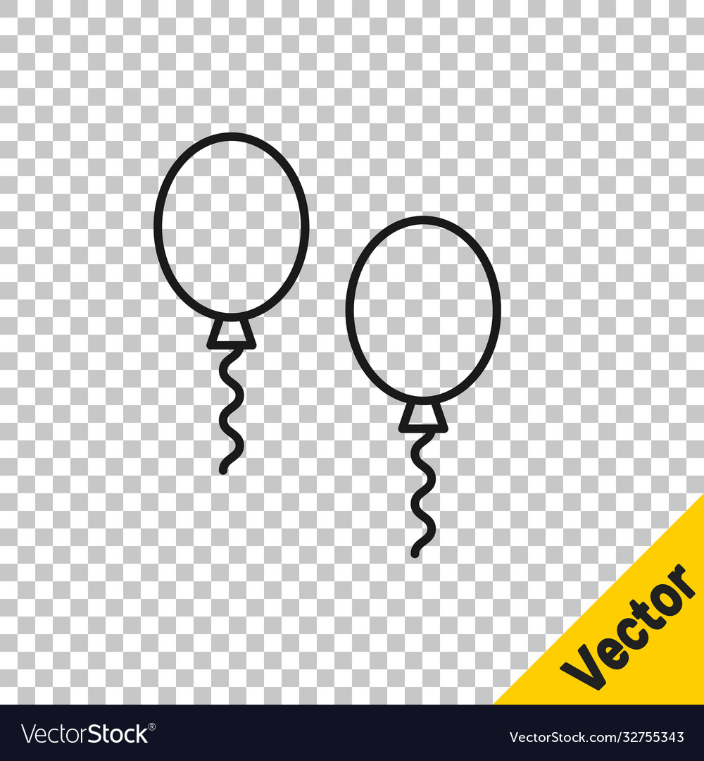Black line balloons with ribbons icon isolated on