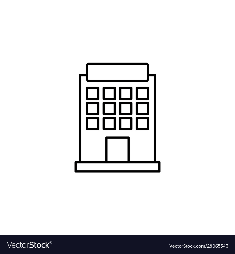 Building hotel line style icon