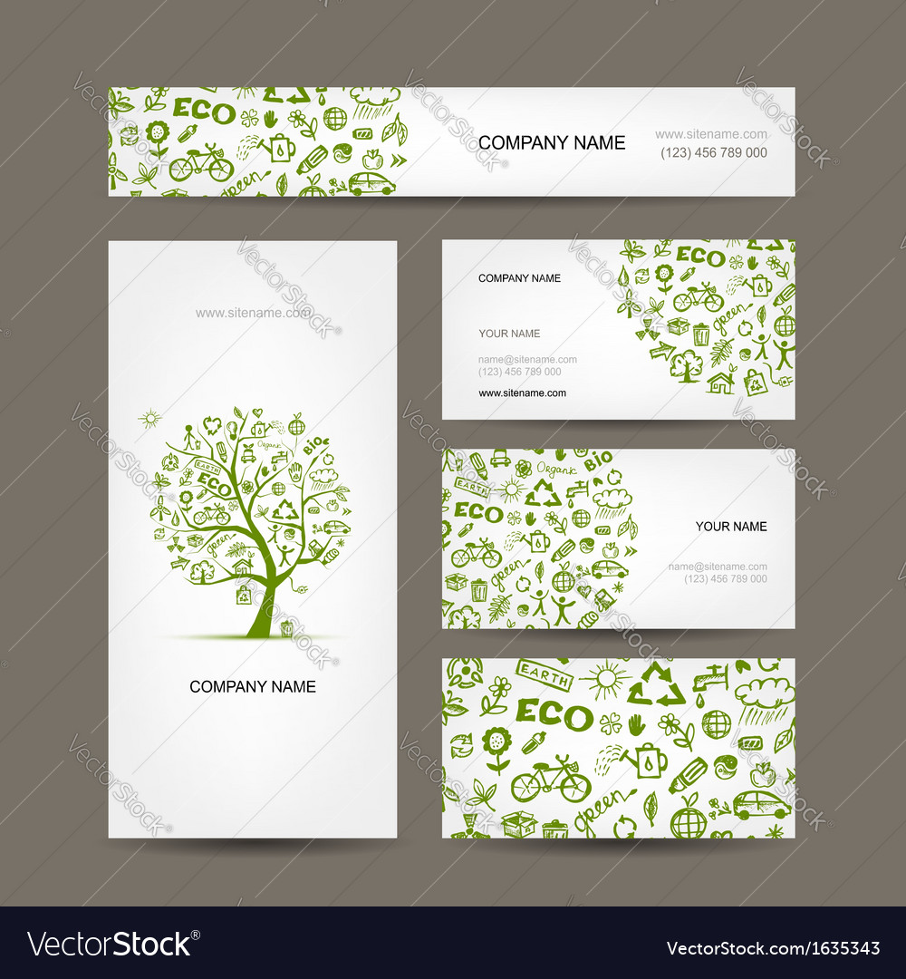 Business cards design green ecology concept