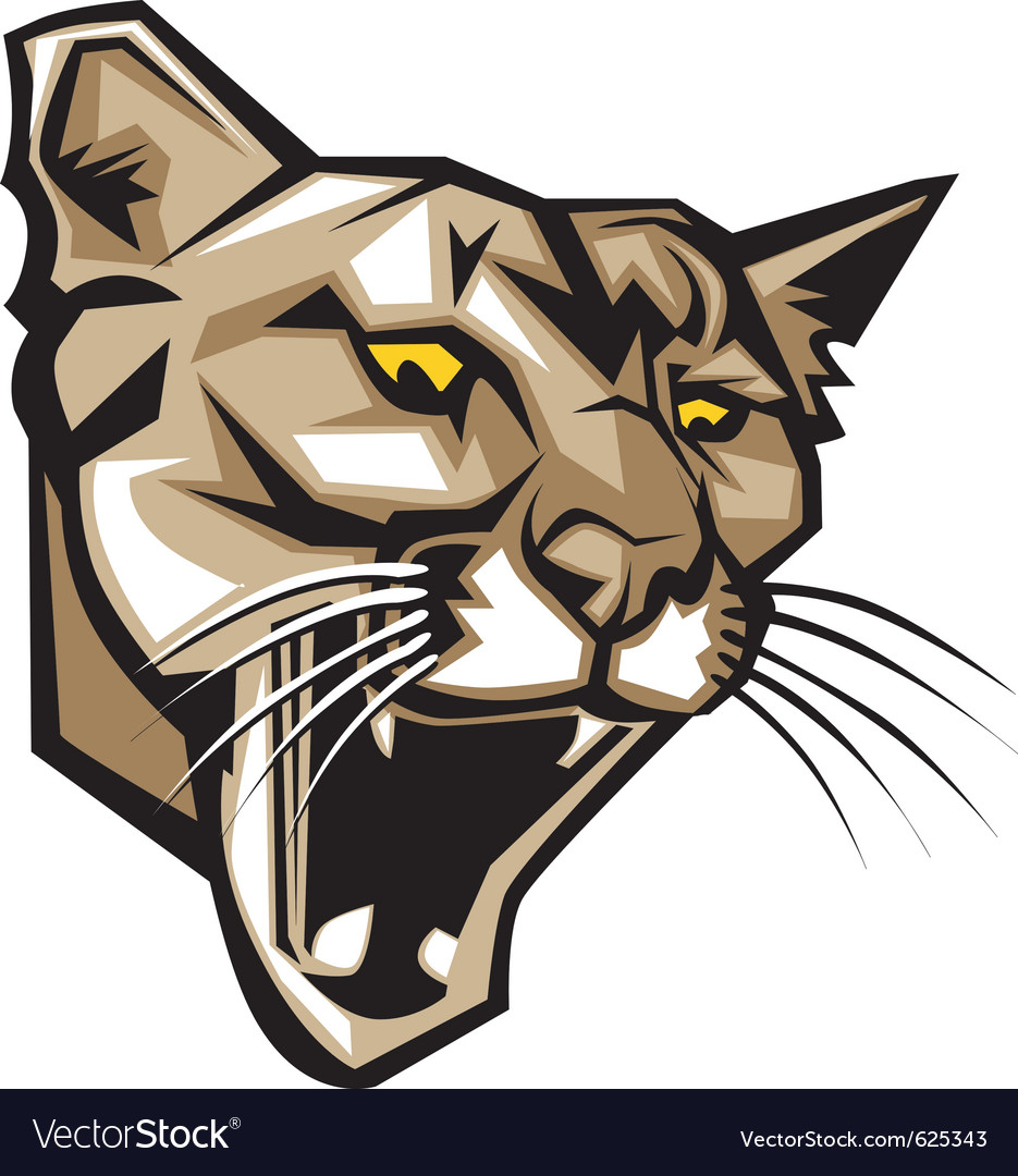6bedbcad990 Cougar panther mascot head graphic Royalty Free Vector Image