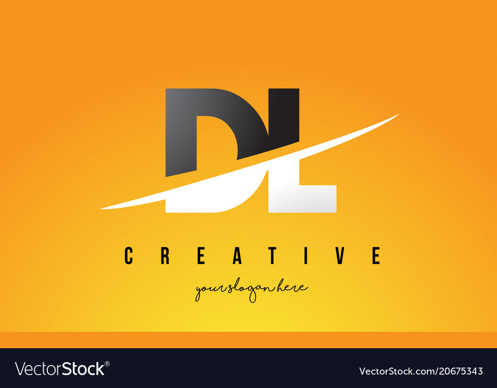Dl D L Letter Modern Logo Design With Yellow Vector Image