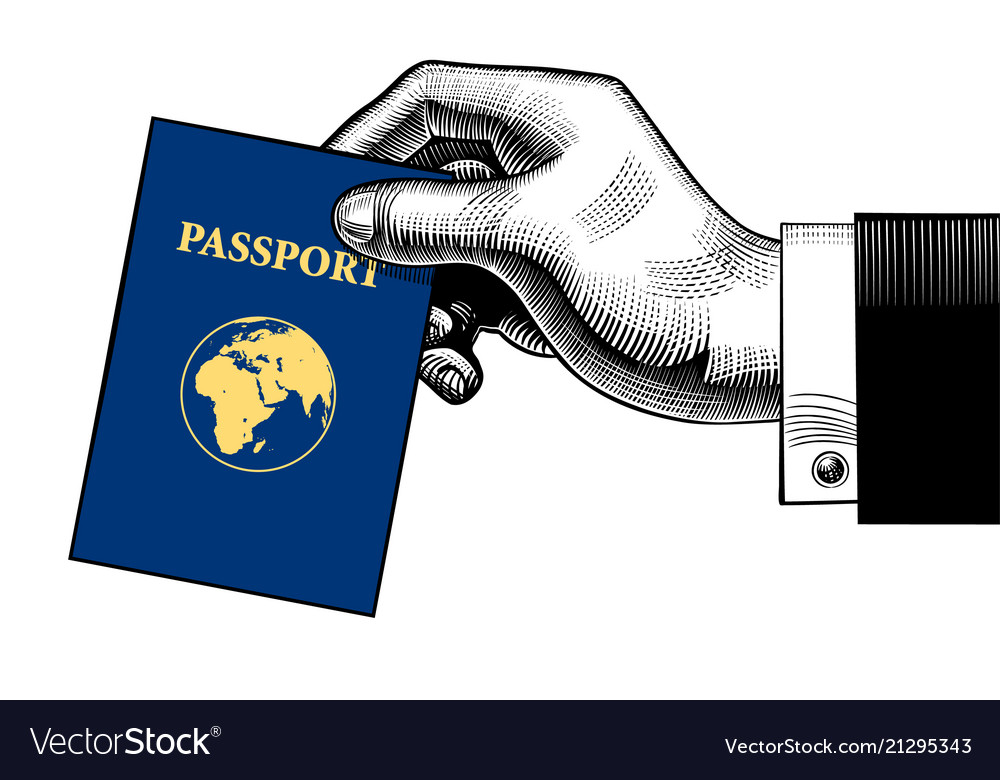 Hand holding a passport with a globe earth on the