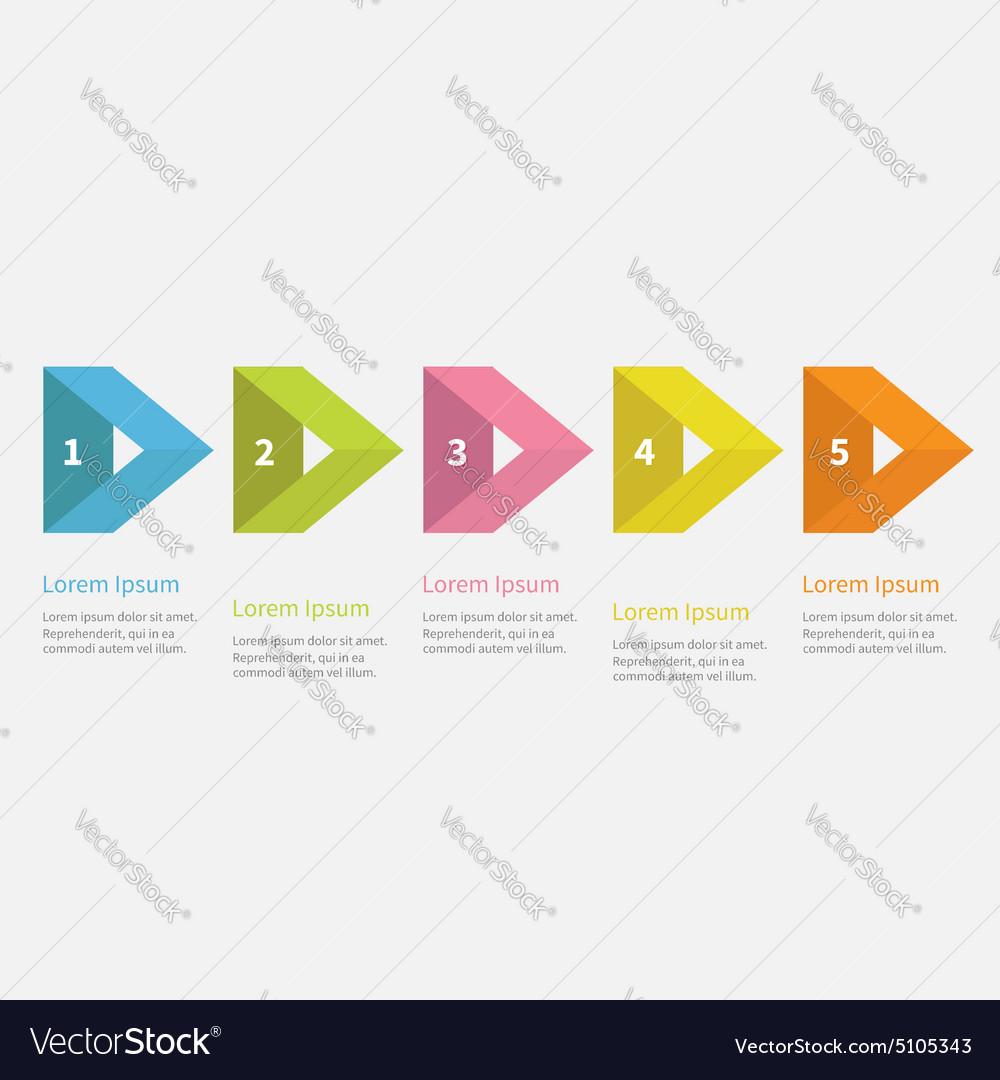 Infographic rectangular arrow text Flat design