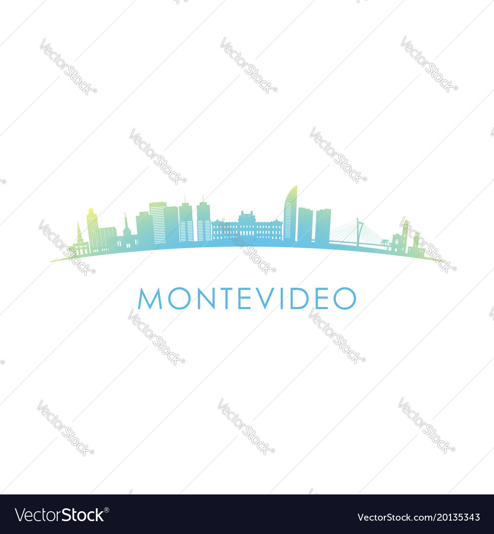 Montevideo skyline silhouette design colorful vector image