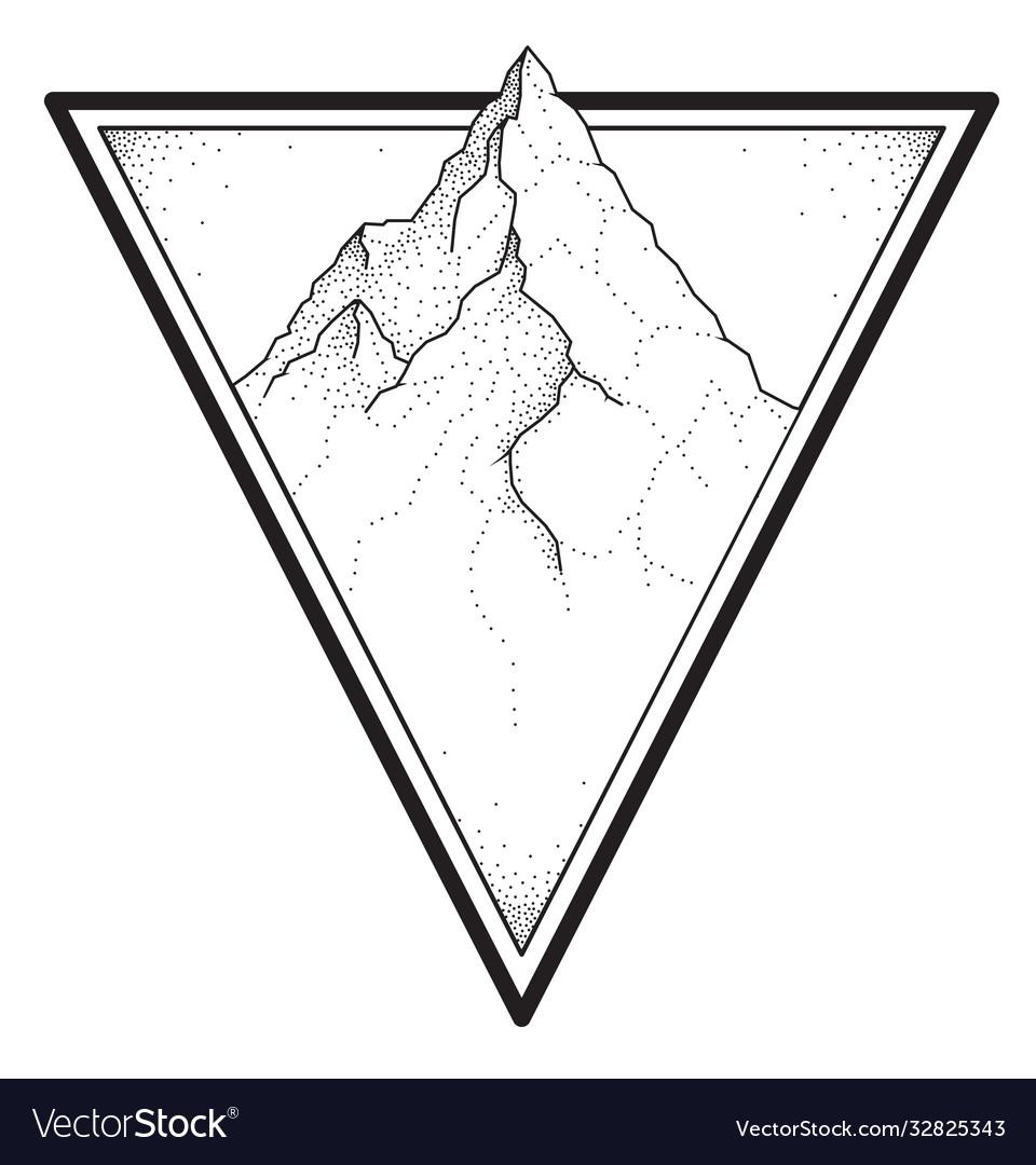 Mountain tattoo in dotwork style