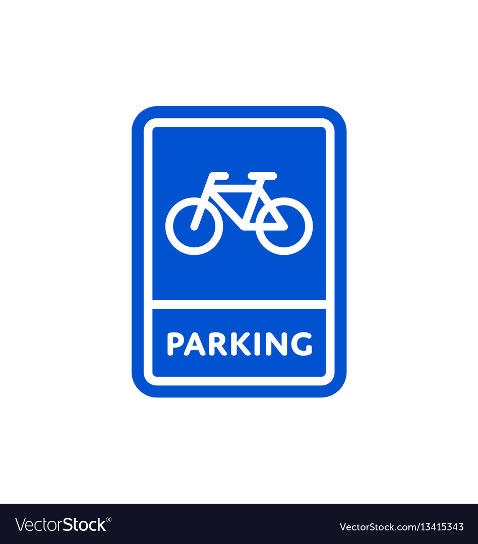 Parking bicycle roadsign isolated