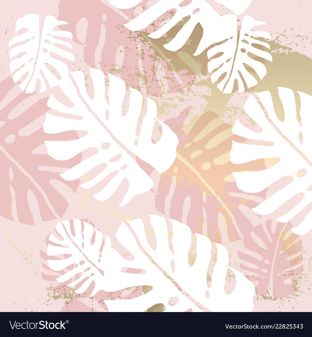 Tropical Worn Floral Pastel Pink Blush Gold Vector Image