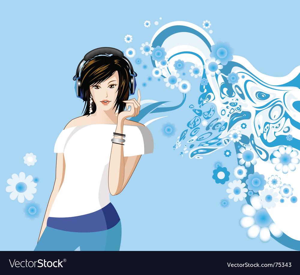 Women is listening to music