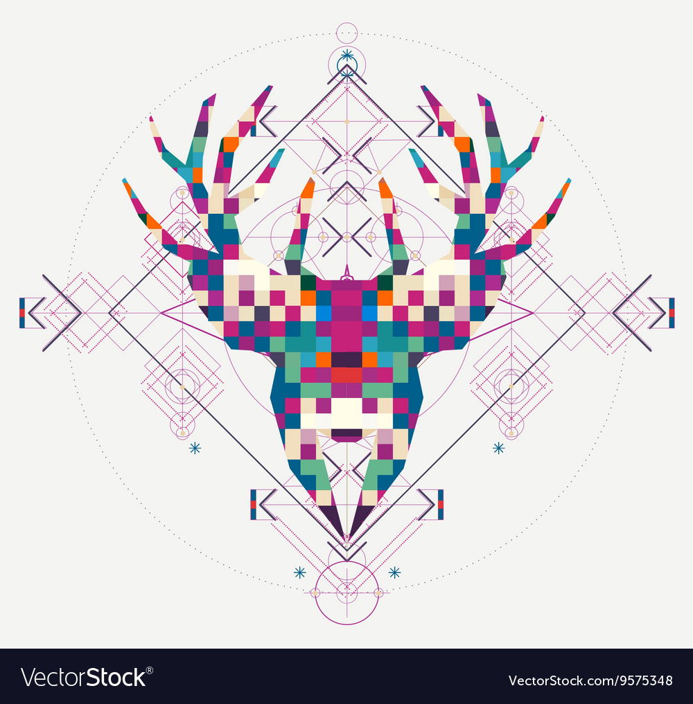 Animal head deer triangular pixel icon