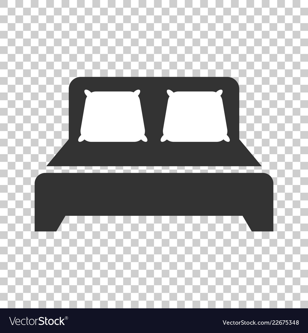 Bed icon in flat style sleep bedroom on isolated