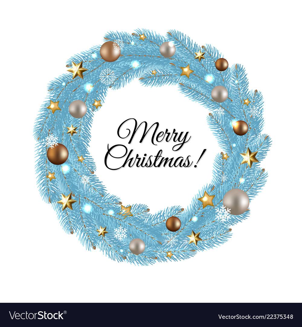 blue merry christmas wreath vector image - Blue Christmas Wreath