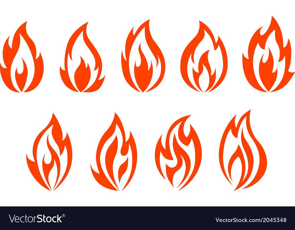 Fire flames symbols vector image