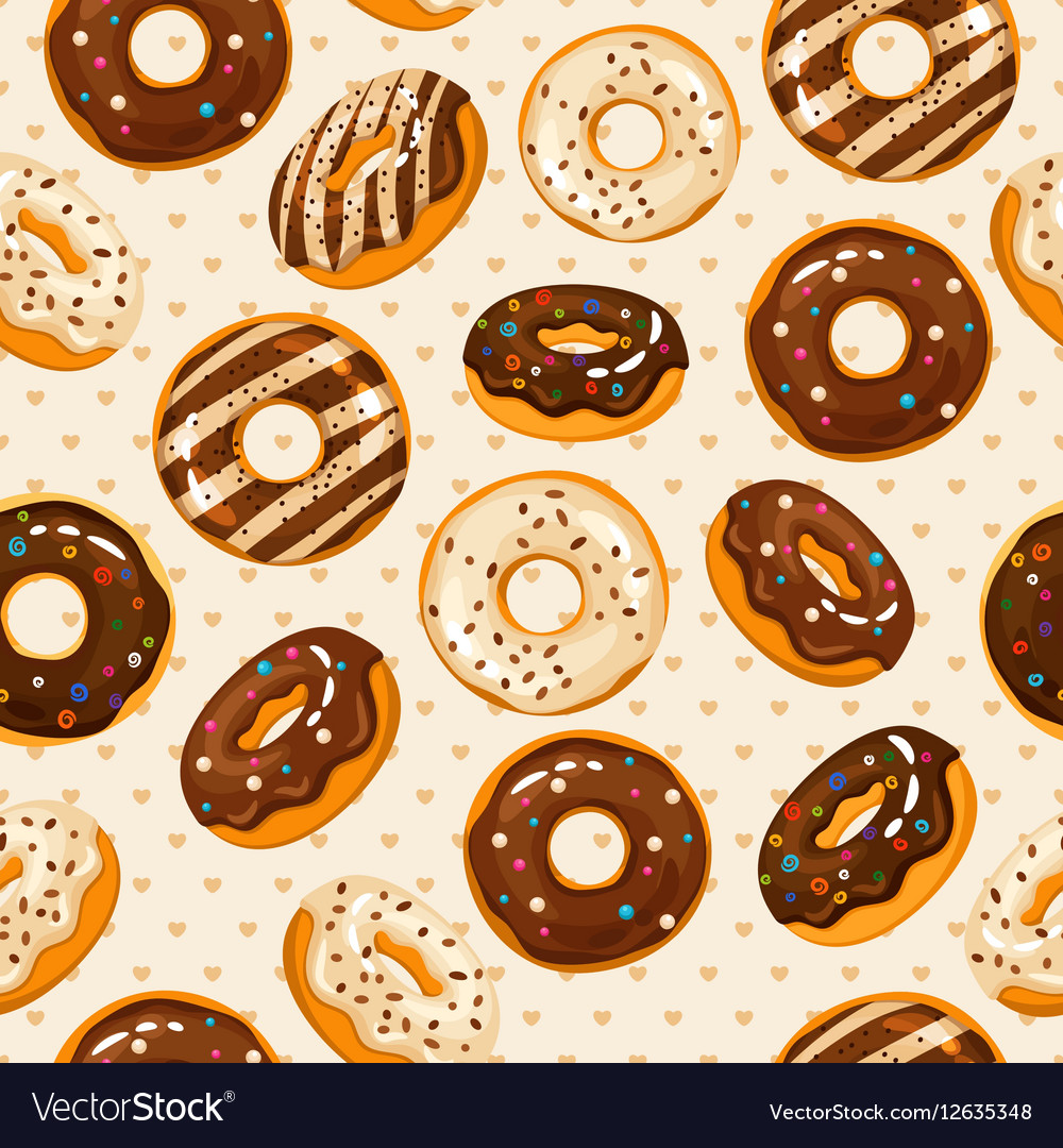 Glazed and sugar powdered chocolate donuts vector image