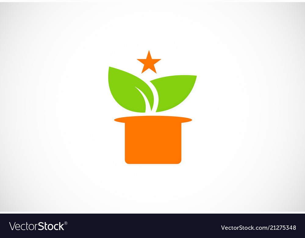 Green leaf magic hat logo
