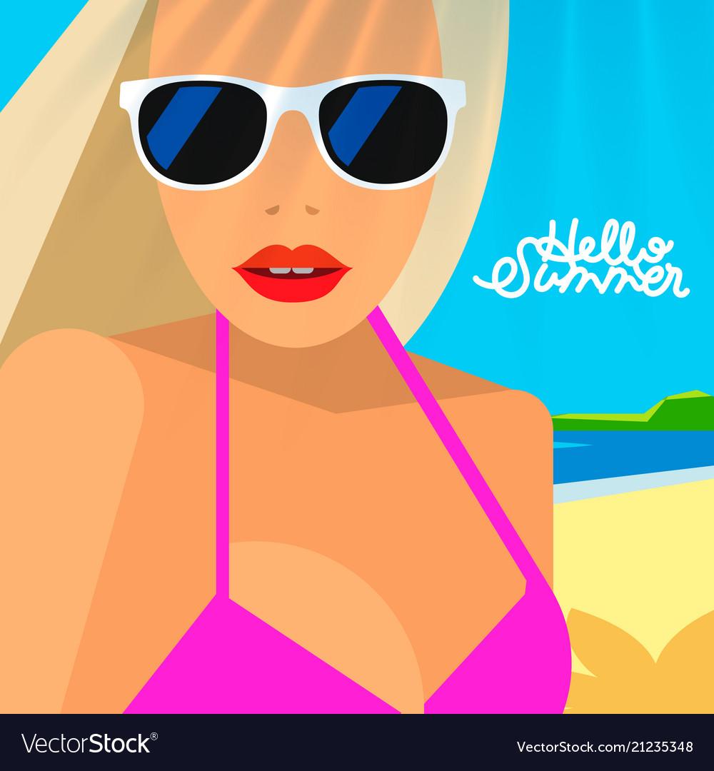 Hello summer poster portrait of hot girl
