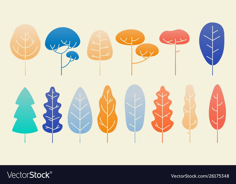 Leaves and plants flat autumn design set