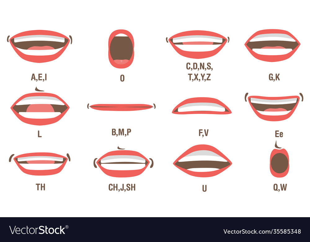 Mouth animation set vector