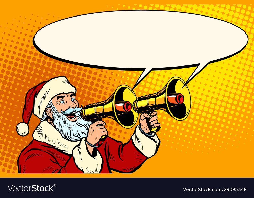 Santa claus with a megaphone christmas sale