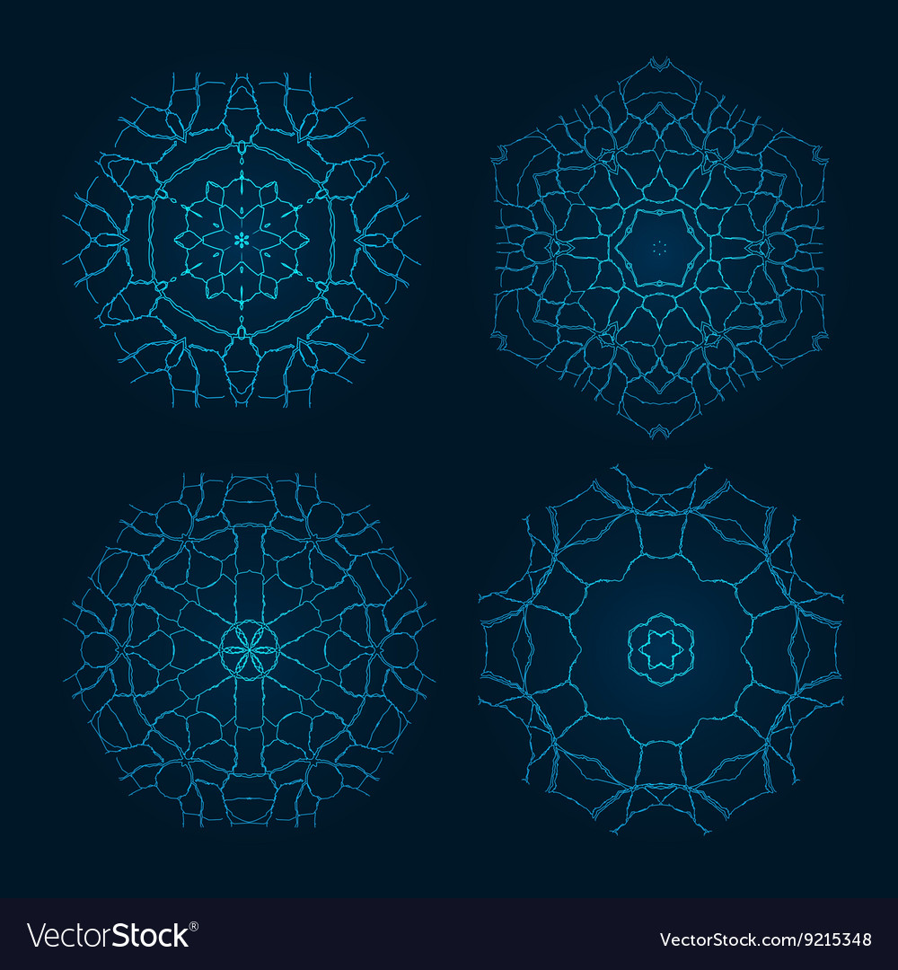 Set of Ethnic Fractal Mandala Meditation