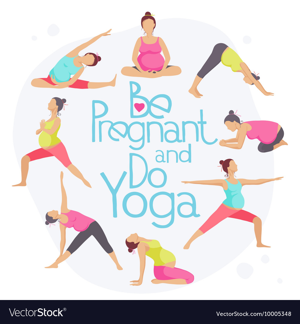 Set Of Yoga Poses For Pregnant Women Royalty Free Vector