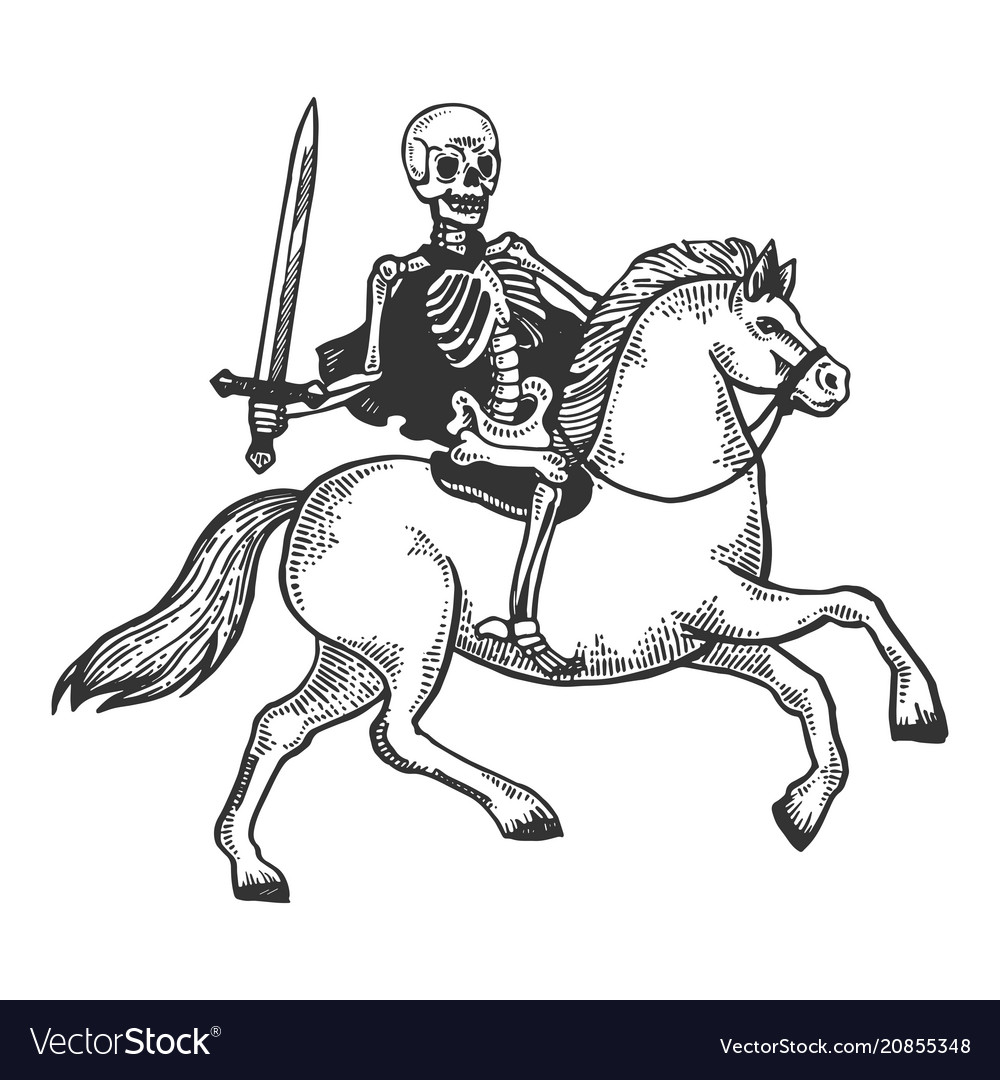 Skeleton Warrior On Horse Engraving Royalty Free Vector