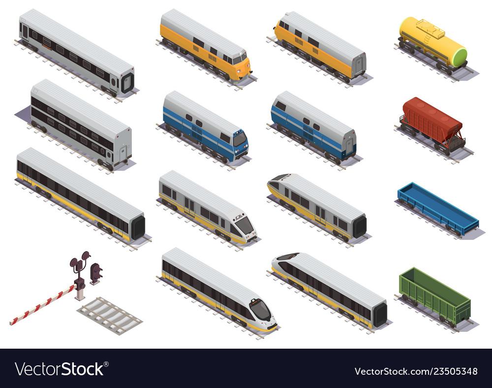Train railway isometric set