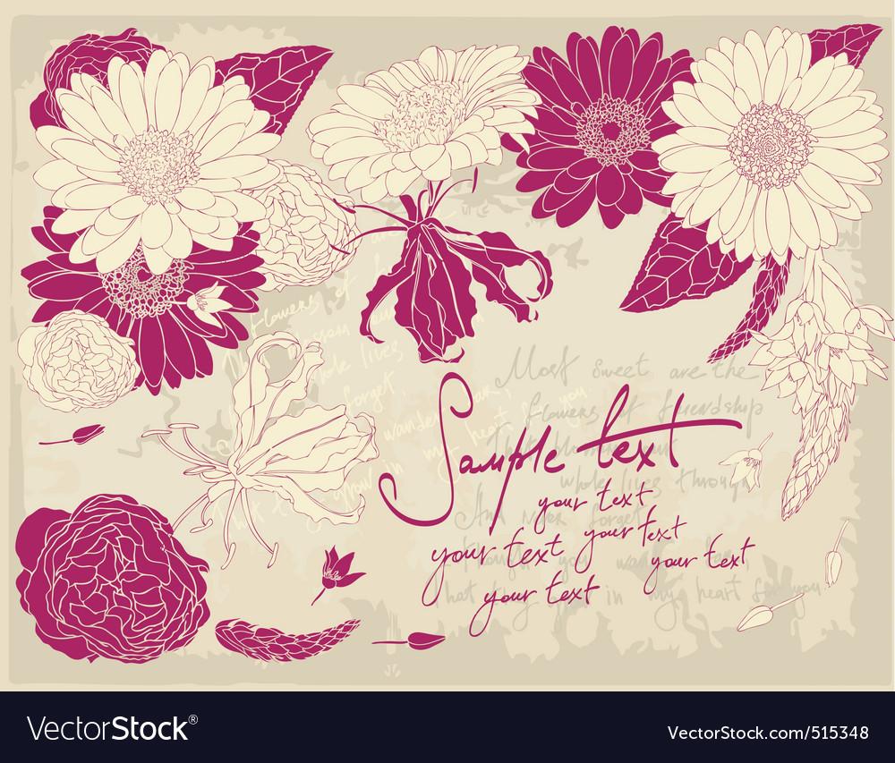 Vintage flower postcard