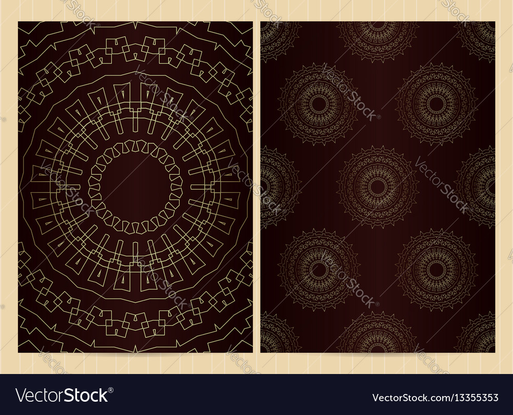 A4 format cards decorated with mandala in golden