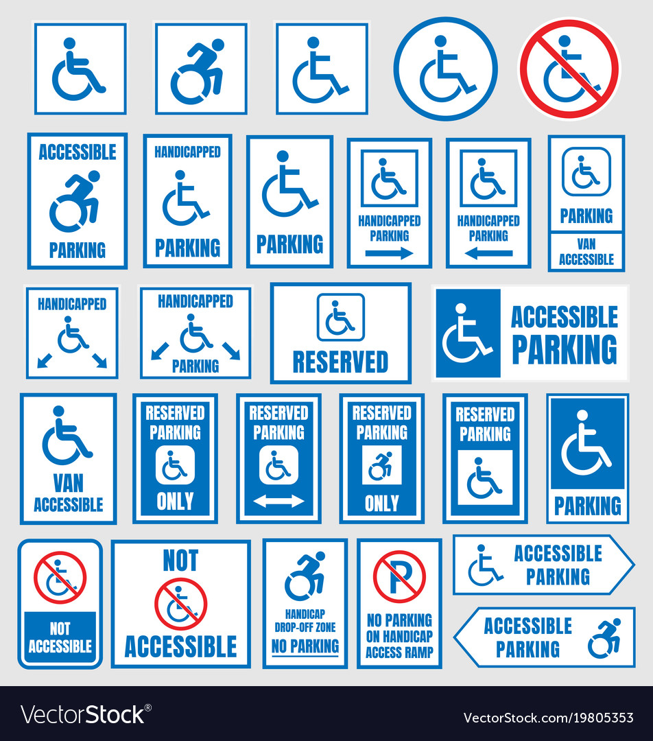 Accesible parking signs disabled people parking