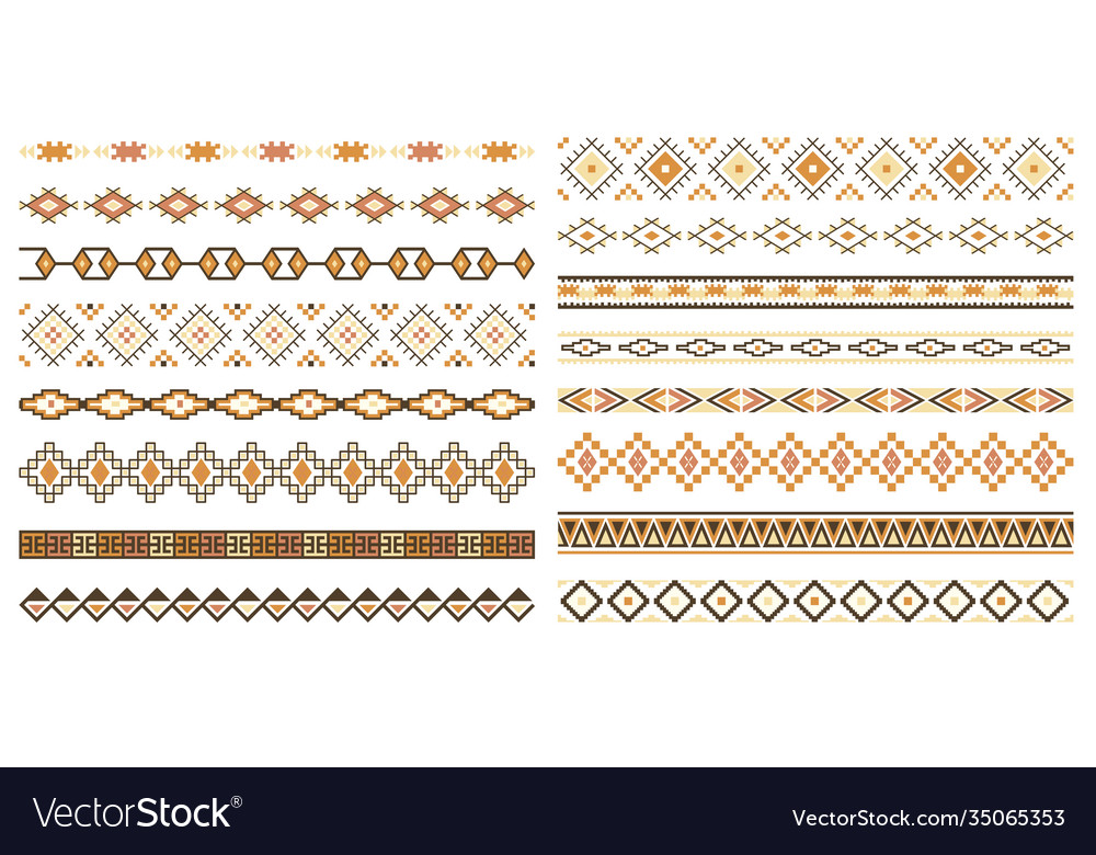 Decorative seamless borders design elements set