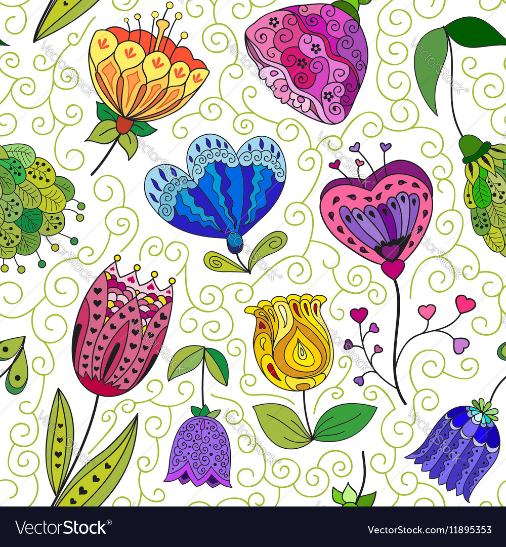 Flowers doodle seamless pattern