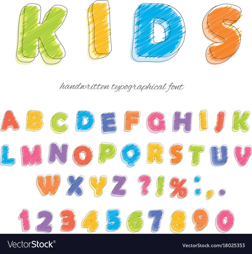 Font pencil crayon for kids handwritten