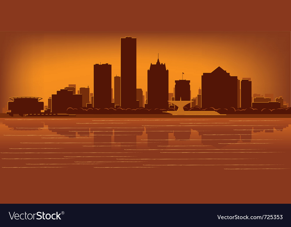 milwaukee wisconsin skyline royalty free vector image