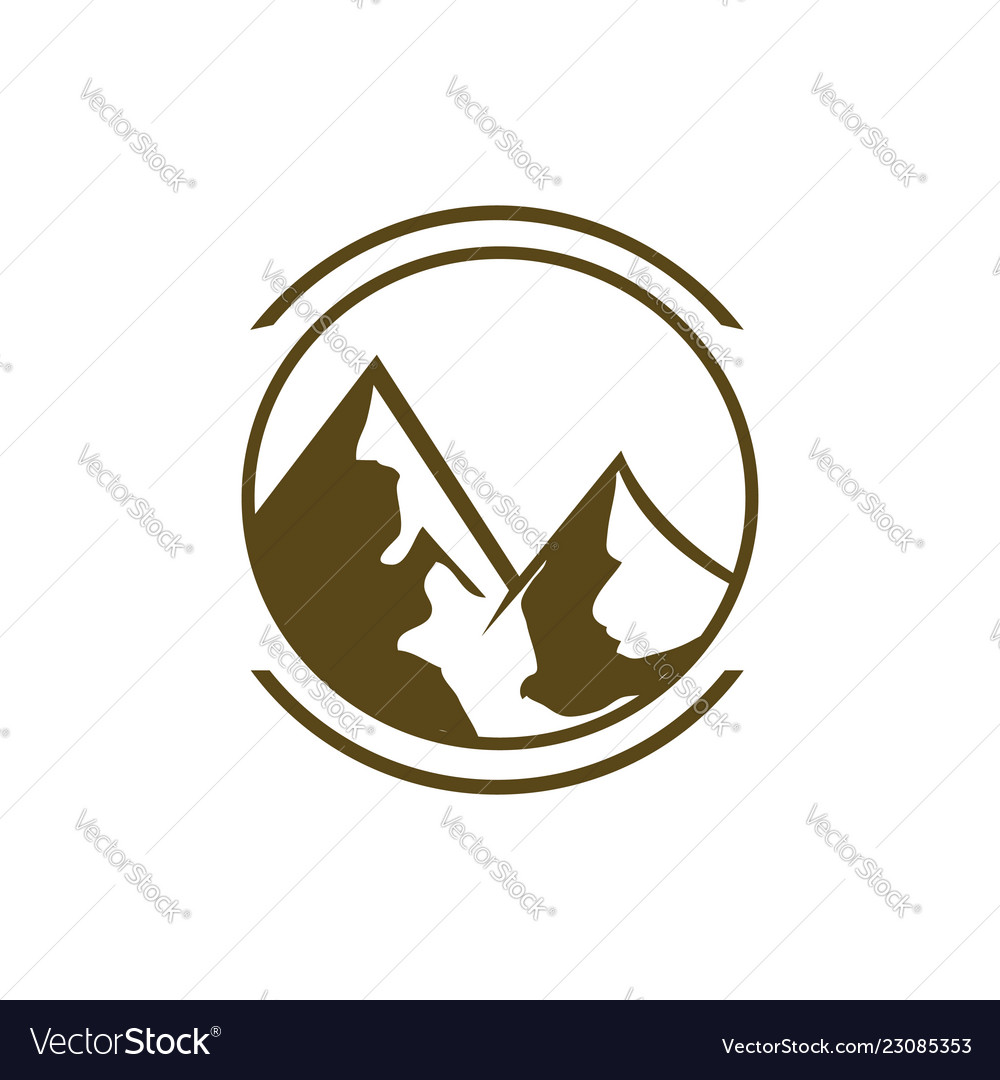 Mountain logo design drawn graphic icon of the