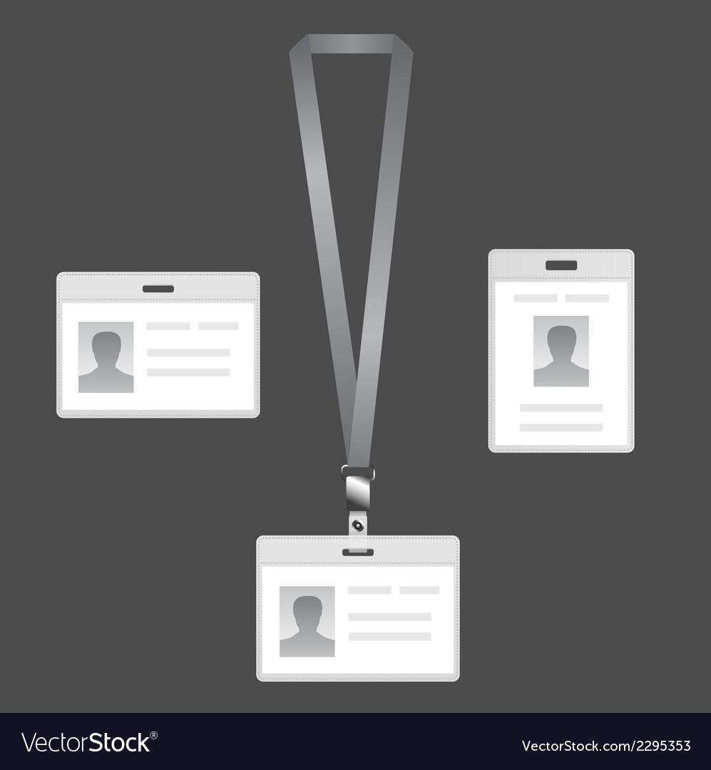 Name tag holder lanyard badge set with icons