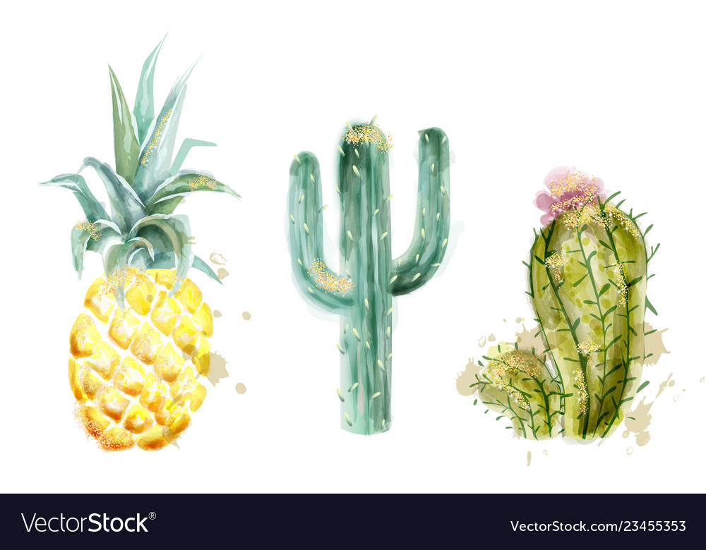 Pineapple and cactus set watercolor exotic