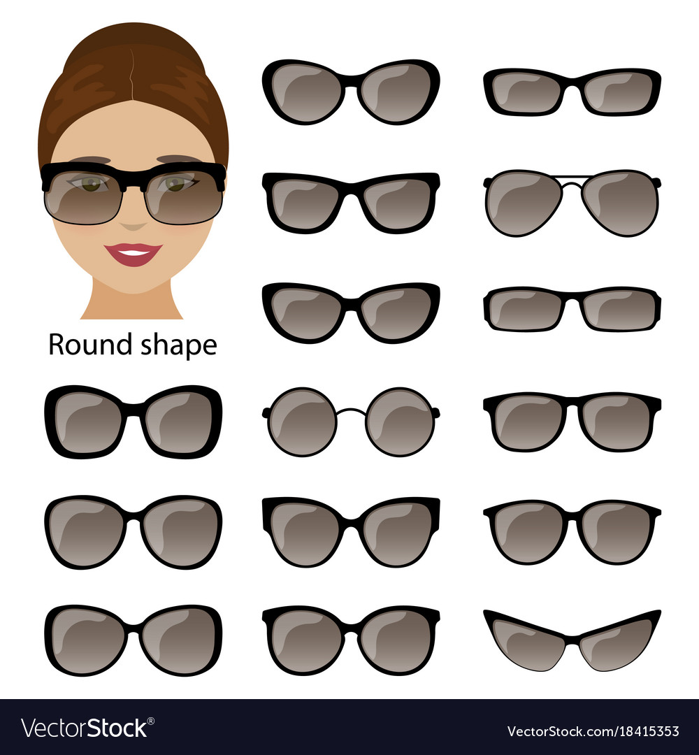 Spectacle frames and round face Royalty Free Vector Image