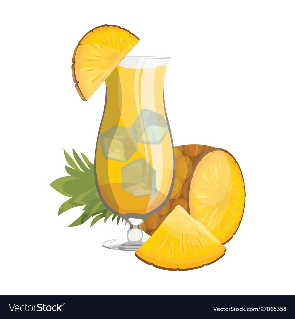 A glass fresh pineapple juice vitamin