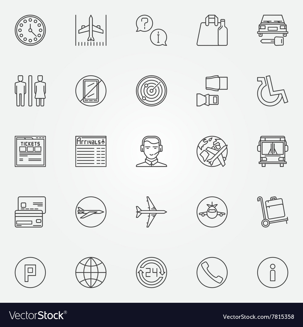 Airport linear icons