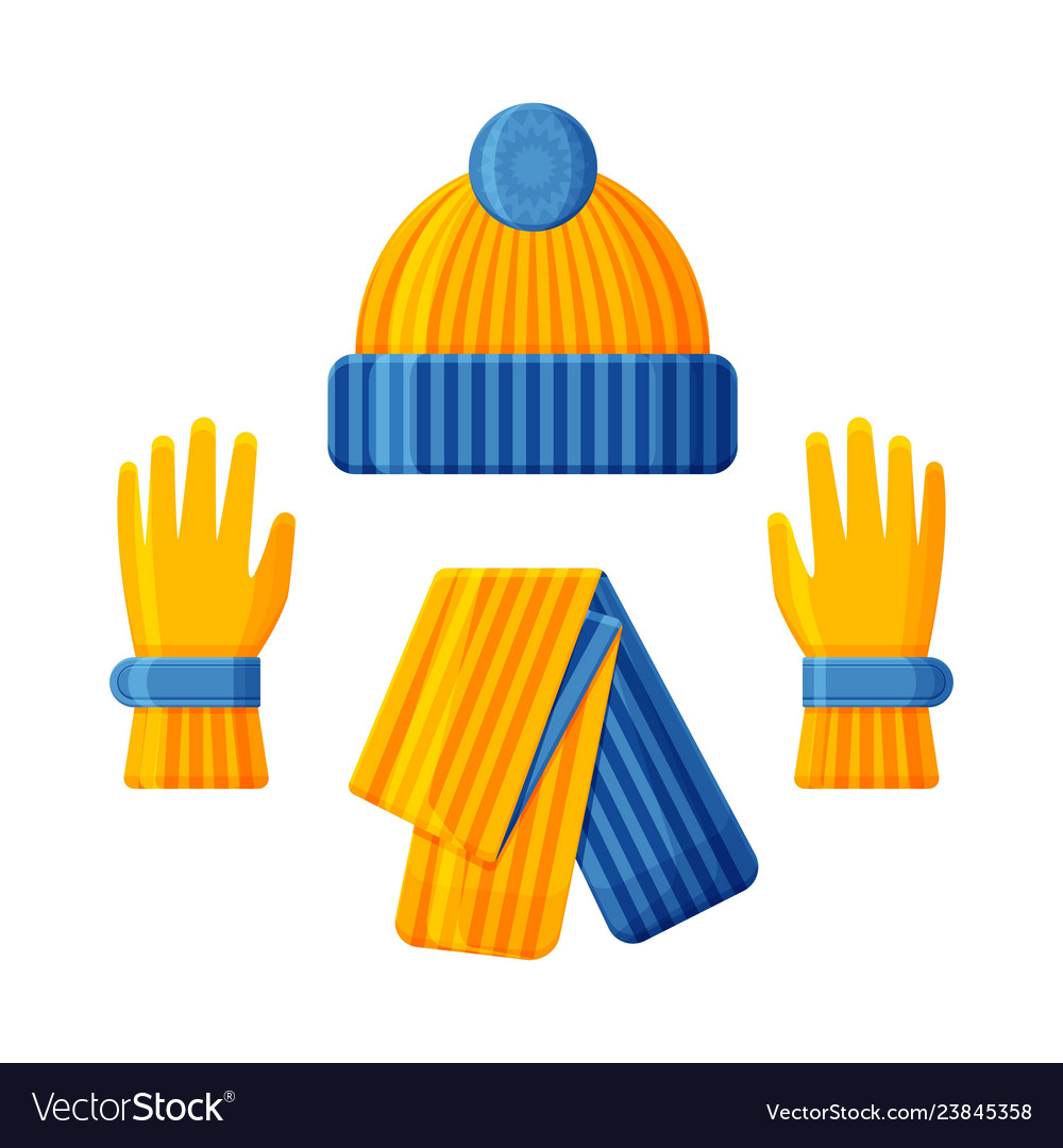 Blue yellow hat with scarf and gloves set winter