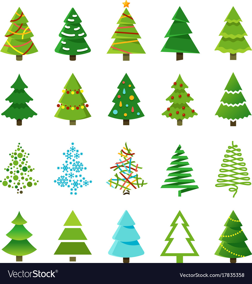 Cartoon abstract christmas trees with gifts and