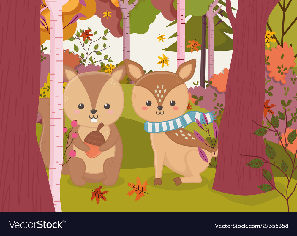 Cute deer and squirrel with acorn hello autumn
