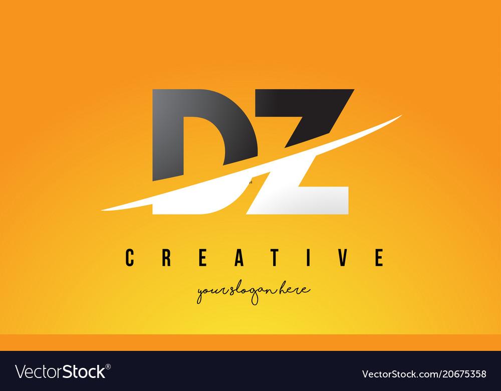 Dz d z letter modern logo design with yellow