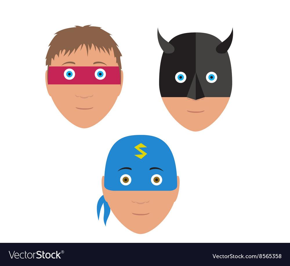 Flat set design of cartoon halloween mask