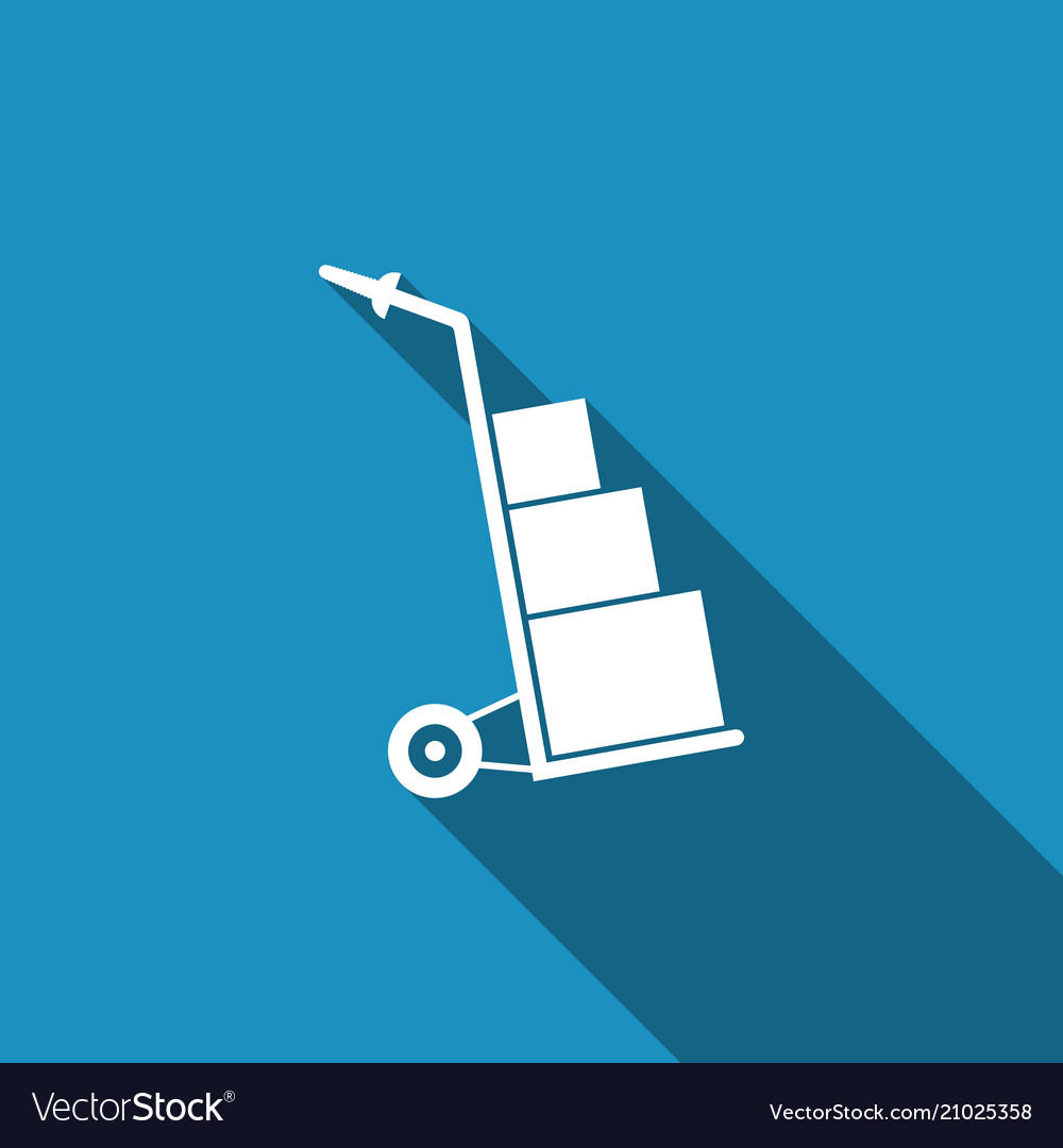 Hand truck and boxes icon with long shadow