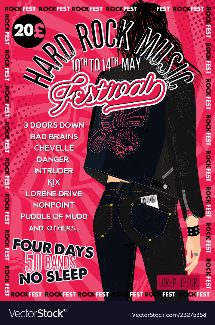 Hard rock festival poster with girl