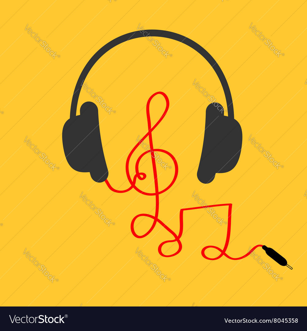 Headphones with treble clef note red cord Music