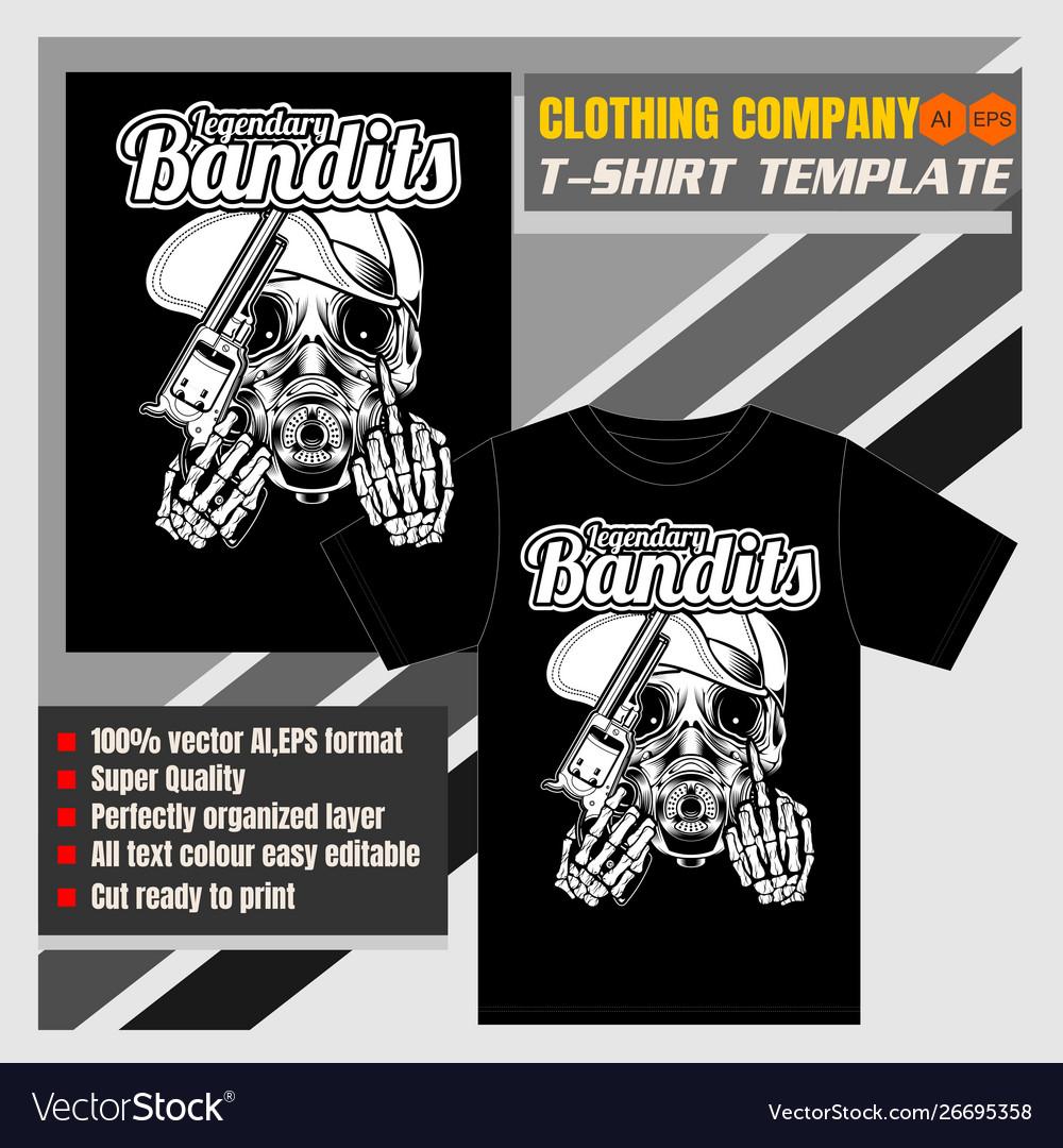 Mock up clothing company t-shirt templateskull