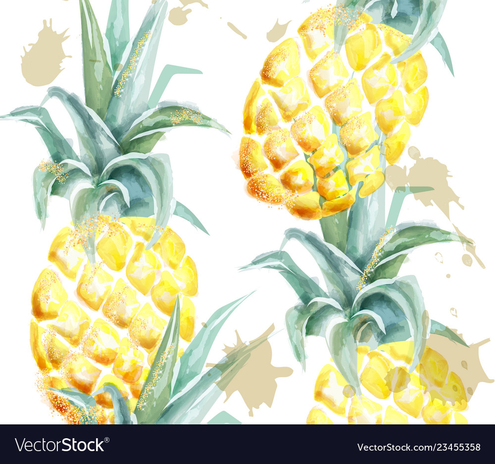Pineapple pattern watercolor tropic fruits